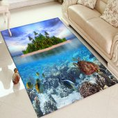 Else Halı Deniz Manzara 3d Baskılı Dekoratif Modern Halılar