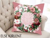 Else Pembe Çiçekler 3d 3 Boyutlu Dekoratif Yastık Kırlent Kılıfı