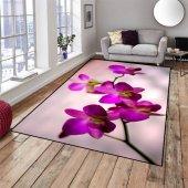 Else Halı Mor Çiçek Dekoratif Modern Salon Mutfak Halıları