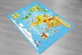 Ch 2073 Dünya Haritası Eğitici 3d Antialerjik Çocuk Halısı