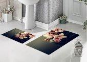 Bh 1730 Pembe Çiçekler Siyah 3d Banyo Paspas Takımı