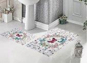 Bh 8060 Beyaz Taşlar Kelebekli 3d Banyo Paspas Takımı