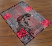 Sh 1654 3d Vintage Güllü Kırmızı Siyah Salon Halısı