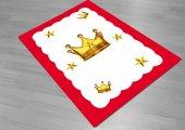 Eç 0106 3d Kral Taçlı Kırmızı Kenar Erkek Çocuk Odası Halısı