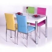 Gökkuşağı Mutfak Masası Yemek Takımı Masa Takımı Sandalye 10 Renk