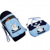 2li Tavşan Taşıma Çanta Seti Lacivert Mavi