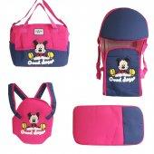 Mickey Mouse 4 lü Tam Bebek Taşıma Seti Fuşya - Laci