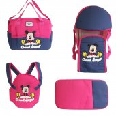 Mickey Mouse 4 Lü Tam Bebek Taşıma Seti Fuşya Laci
