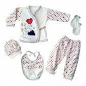 Chery Kalpli Tavşan Laci Kırmızı 5 Li Bebek Hastane Çıkış Seti