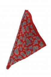 Kırmızı Şal Desen Yün Mendil SPS80