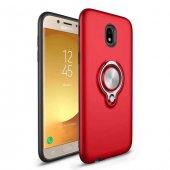 Samsung Galaxy J7 Pro J730 Ring Youyou Yüzüklü Kılıf + Cam-4