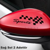 Ayna Kapağı Damalı Sport Oto Sticker 2 Adet