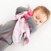 %100 Pamuklu Oyuncaklı Müslin Uyku Arkadaşı Lavanta-5