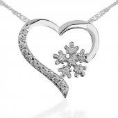 Kar Tanesi Kalp Bayan Pirmoda Gümüş Kolye