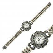 Markazit Taşlı Bayan Pirmoda Gümüş Saat