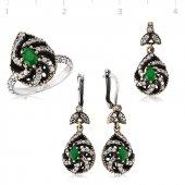 Yeşil Otantik Bayan Pirmoda Gümüş Set