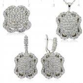 Beyaz Taşlı Bayan Pirmoda Gümüş Set