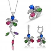 Renkli Çiçek Bayan Pirmoda Gümüş Set