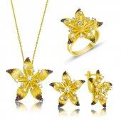 Sarı Çiçek Bayan Pirmoda Gümüş Set