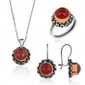 Kırmızı Otantik Bayan Pirmoda Gümüş Set