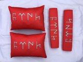 Göktürk Kırmızı 2 Li Yastık Ve Kemer