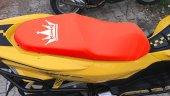 Kıng Logolu Kırmızı Penye Kumaş Motorsiklet Koltuk Kılıfı