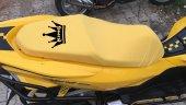 Kıng Logolu Krem Penye Kumaş Motorsiklet Koltuk Kılıfı