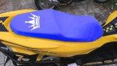 Kıng Logolu Mavi Penye Kumaş Motorsiklet Koltuk Kılıfı