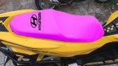 Hyundaı Logolu Pembe Penye Kumaş Motorsiklet Koltuk Kılıfı