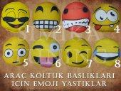 MERCEDES Sax Mavi Penye Kılıf Ön Arka Koltuk 2 Adet Emoji Yastık-2