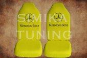 Mercedes Sarı Penye Kılıf Ön Arka Koltuk 2 Adet Emoji Yastık
