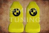 BMW Sarı Penye Kılıf Ön Arka Koltuk 2 Adet Emoji Yastık