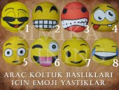 BMW Sarı Penye Kılıf Ön Arka Koltuk 2 Adet Emoji Yastık-2