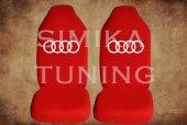 Audi Kırmızı Penye Kılıf Ön Arka Koltuk 2 Adet Emoji Yastık