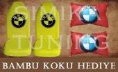 Bmw Sarı Ön Ve Arka Kılıf + Yastık Bambu Koku Hediye