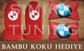 Bmw Kırmızı Ön Ve Arka Kılıf + Yastık Bambu Koku Hediye