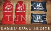 Honda Kırmızı Ön Ve Arka Kılıf + Yastık Bambu Koku Hediye