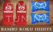 Mazda Kırmızı Ön Ve Arka Kılıf + Yastık Bambu Koku Hediye