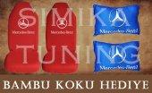 Mercedes Kırmızı Ön Ve Arka Kılıf + Yastık Bambu Koku Hediye