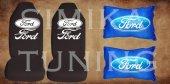 Ford Siyah Renk Penye Ön Koltuk Kılıf + Boyun Yastığı