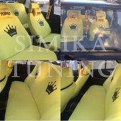 King Sarı Ön Arka Koltuk Kılıf King Sarı Boyun Yastığı