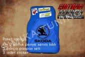 Skoda Sax Mavi Renk Ön Penye 5 Parça Paspas 3 Sticker