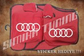 Audi Kırmızı Ön Arka Koltuk Direksiyon Seti Paspas Sticker