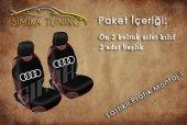 Audi Kırmızı Dikişli Ön Koltuk 2 Adet Başlık Atlet Kılıf