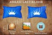 King Mavi Renk 2 Lı Boyun Yastığı Sticker Hediyeli