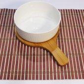 Porselen Kase Bambu Altlı Servis Takımı  15x7x24cm