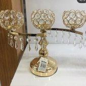 3lü Kristal Taşlı Metal Altın Gold Top Model...