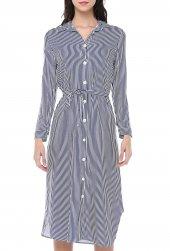 MisellH&K Uzun Kollu İnce Çizgili Kuşaklı Viskon Elbise 0331 -2