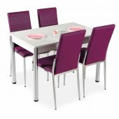Mutfak Masa Sandalye Takımı Beyaz, Mor, Siyah 4 Sa...