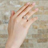 925 Ayar Gümüş Yuvarlak Tasarım Rose Renk Bayan Yüzük-3